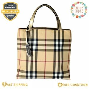 Burberry satchel bag nova check beige pvc leather